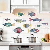 Decal Dán Tường 11 Chú Cá Đang Bơi Phong Cách Màu Nước Trang Trí Nhà Bếp