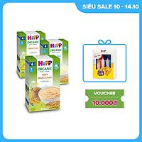 Combo 3 bột ăn dặm không chứa sữa HiPP Organic Baby Cereal 100% hữu cơ cho trẻ từ 4 tháng tuổi: Bột gạo nhũ nhi, Bột ngũ cốc tổng hợp, Bột ngũ cốc bắp non (3 hộp x 200g)