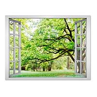 Decal dán tường cửa sổ rừng cây xanh VT0015