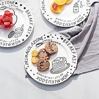 Đĩa sứ trang trí họa tiết trắng đen hình bánh ngọt