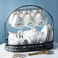 Bộ ấm trà sứ xương kèm giá đựng họa tiết chim xanh
