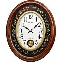 Đồng hồ treo tường RHYTHM SIP (Sound In Place) Wall Clocks CMJ580NR06 (Kích thước 48.8 x 60.0 x 8.0cm), Vỏ màu Nâu