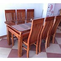 Bộ bàn ghế ăn 2 tầng gỗ xoan đào 1m6