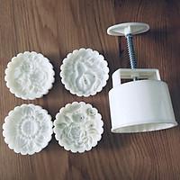 Khuôn bánh trung thu lò xo 4 mặt hoa hồng chùm 150gr đẹp, dùng làm bánh trung thu, bánh dẻo, chất lượng tốt nhất