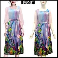 Đầm Suông BigSize In Hoa Lá Kiểu Đầm Suông Trung Niên Dự Tiệc Size Lớn ROMI 3269 - TÍM HOA 3327 - M 48-53KG