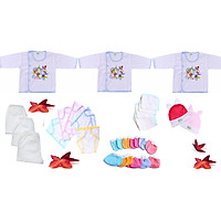 Combo 28 món đồ cho trẻ sơ sinh từ 0 đến 6 tháng tuổi (3 áo + 3 quần dài + 5 tã dán + 5 khăn sữa + 5 đôi bao tay + 5 đôi bao chân + 2 nón thỏ)