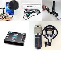 Bộ micro thu âm cao cấp BM900 + sound card K10 + dây livestream + Kẹp đỡ để bàn và màng lọc