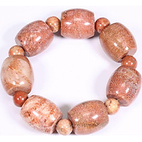 Vòng tay lu thống đá san hô hóa thạch 21x20mm mệnh Hỏa, Thổ - Ngọc Quý Gemstones