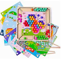 Đồ chơi bằng gỗ Giáo dục Montessori Gắp Bi ghép tranh