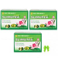 Bộ 3 hộp trà giảm béo tan mỡ chiết xuất lá sen học viện quân y SLimutea ( 20gói/ hộp) và nơ