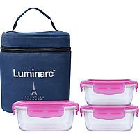 Bộ 3 Hộp Đựng Cơm Thủy Tinh Luminarc Pure Dahlia Vuông có túi LUDA2380176003M ( 2 Hộp 380ml và 1 Hộp 760ml)