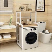 Kệ máy giặt 2 tầng cửa trước KMG03 Sản xuất tại Việt Nam rất chắc chắn, khung thép dày dặn sơn tĩnh điện chống bong tróc, gỗ lõi xanh phủ melamine chống nước cực bền, tiết kiệm không gian
