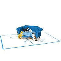 Thiệp 3D pop up Mèo & Ghế Sofa