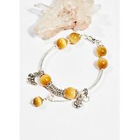 Vòng tay phong thủy nữ đá mắt hổ vàng tâm charm bướm 10mm mệnh thổ , kim - Ngọc Quý Gemstones
