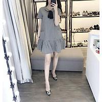Đầm bầu công sở Váy bầu đẹp caro nơ đen dáng đuôi cá