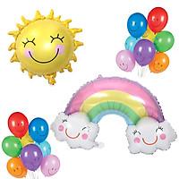 Combo bong bóng mặt cười, mặt trời và cầu vồng