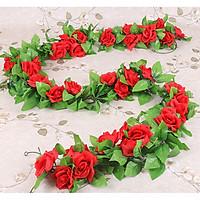 2 Dây hoa hồng giả 9 đầu bông Màu đỏ HOA01