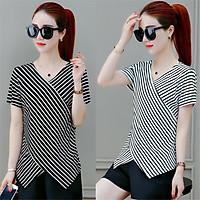 Women T-shirt V-neck Stripe Pattern Slimming All-match Short-sleeve T-shirt