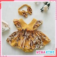 Body váy cho bé gái, trẻ sơ sinh màu vàng - Tặng kèm băng đô (Quà đầy tháng)
