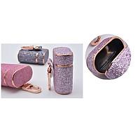 Bao da bảo vệ tai nghe Airpod/Airpods 2 kim tuyến viền mạ vàng + dây đeo, móc