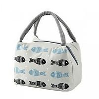 Túi đựng hộp cơm giữ nhiệt hình cá phiên bản ngang - tặng kèm 01 sổ tay nhỏ