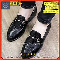 Giày tây nam cao cấp dập ô vuông gea giày da nam trẻ trung màu đen tăng chiều cao da thật đẹp giá rẻ - Mã GEADL002