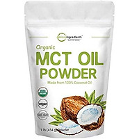 Micro Ingredients Organic MCT Oil Powder, 1 Pound (454 Grams), Delicious Creamer for Coffee, Tea, Smoothie, Drink and Beverage, No GMOs, Keto Diet and Vegan Friendly