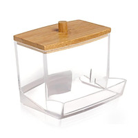 Upgrated Quality Acrylic Cotton Swabs Storage Holder Bathroom Containers Apothecary Jar Qtip Holder for Storage Bamboo