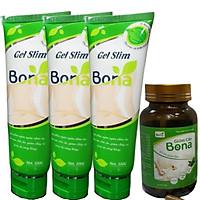 Combo 3 Gel Slim Bona Tặng Kèm 1 Hộp hỗ trợ Giảm Cân Bona - Gel Massage Hỗ Trợ Đùi Tan Mỡ Bụng Và Săn Chắc Da