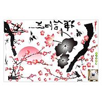 Decal Dán Tường Cành Đào Và Hoa Sen Binbin PK252 (135 x 80 cm)