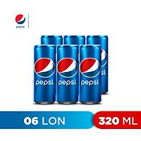 Lốc 6 Lon Nước Ngọt Có Gaz Pepsi (320ml/lon)
