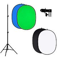Combo phông vải xanh key hình 2 mặt di động 180x240cm