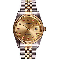 Fanmis Luxury Unisex Gold Crystal Quartz Calendar Gold Silver Two Tone Stainless Steel Watch