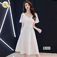 Váy đầm xòe B360 Trắng thời trang nữ hàng thiết kế Cao Cấp