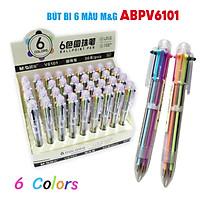 Bút bi bấm M&G ABPV6101 có 6 ngòi 6 màu ngẫu nhiên (ngòi 0.7 mm)