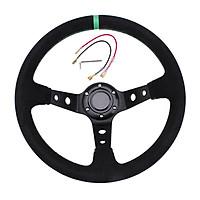 14 Inch 350mm Modified Suede Leather Steering Wheel Automobile Deep Corn Drifting Race Steering Wheel