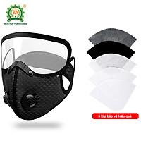 Khẩu trang ninja có kính 3A - Khẩu trang có kính che mắt, với 5 lớp lọc bụi, có lớp than hoạt tính, van thở thoáng khí