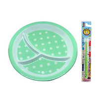 Combo Khay ăn chia 3 ngăn cho bé họa tiết chấm bi, dáng tròn màu xanh lá + Bàn chải đánh răng 360 độ Higuchi cho trẻ từ 3 tuổi - Nội địa Nhật Bản