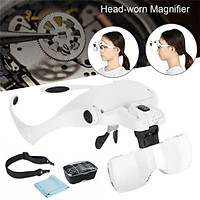 Headset Headband LED Head Light Magnifying Glass Loupe Adjustable with 5PCS 1X, 1.5X, 2X, 2.5X, 3.5X Lens Magnifier Lamp Reading Tool