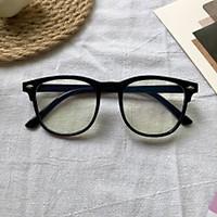 Gọng kính mắt tròn nam nữ chất liệu nhựa dẻo kèm mắt 0 độ chống ánh sáng xanh