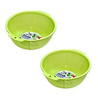 Bộ 2 rổ nhựa 28cm tiện lợi (màu xanh) - Hàng Nội Địa Nhật