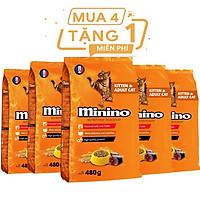 Combo 4 gói thức ăn cho mèo Minino Tuna 480gr - Tặng 1 gói cùng loại