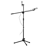 Adjustable Collapsible Mic Stand Live Voice Tripod Microphone Stand with Boom Arm 2 Non-Slip Mic Clip Holders
