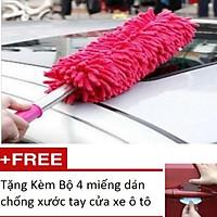 Chổi Phất Trần Lau Xe Đa Năng HQ 206060 Tặng Bộ 4 miếng dán chống xước tay cửa xe ô tô (màu ngẫu nhiên)