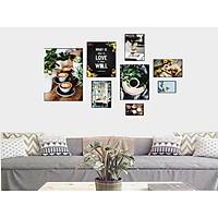 Bộ khung ảnh treo tường composite Cà phê 11 tặng đinh 3 chân  KA243
