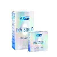 Combo Bao cao su Durex Invisible Extra Thin Extra Sensitive hộp 10 bao và hộp 3 bao