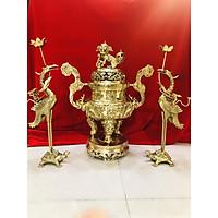Bộ đỉnh đồng thờ cúng tam sự rồng vàng(đỉnh và đôi hạc)