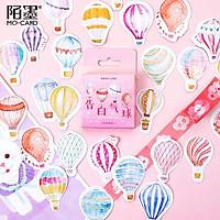 Hộp 46 Nhãn dán sticker Khinh khí cầu rực rỡ trang trí sổ tay bullet journal
