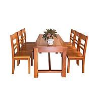 Bộ bàn ăn 6 ghế gỗ căm xe mỡ Juno Sofa 1m6 *80*75 cm (màu tự nhiên)