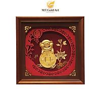 Tranh heo đồng tiền dát vàng (23x23cm) MT Gold Art- Hàng chính hãng, trang trí nhà cửa, phòng làm việc, quà tặng sếp, đối tác, khách hàng, tân gia, khai trương